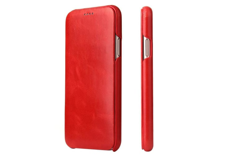 For iPhone XS X Case FS Elegant Protective Genuine Leather Flip Cover Red