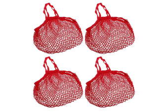 4PK Sachi Reusable Cotton String Shopping Bag Storage Long Handle Handbag Red