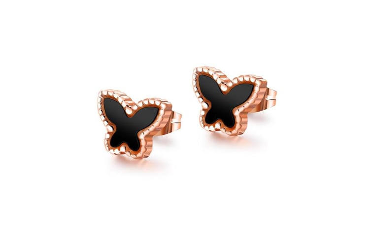 Butterfly Silhouette Stud Earrings|Rose Gold/Black