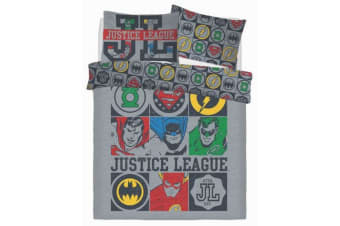 Justice League Vintage Icons Reversible Duvet Set (Multicoloured)