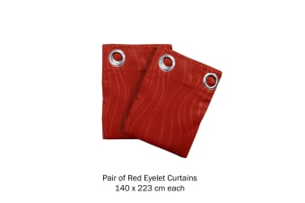 Pair of Blockout Embossed Eyelet Wave Curtains Red