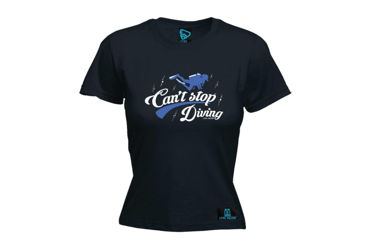 Open Water Scuba Diving Tee - Cant Stop - (Large Black Womens T Shirt)