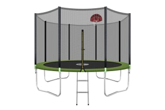 Genki 12ft Round Outdoor Trampoline Set with Safety Enclosure & Basketball Hoop Set & Ladder 150KG