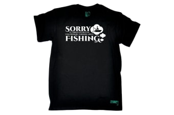 Drowning Worms Fishing Tee - Sorry If I Looked Interested - (Small Black Mens T Shirt)