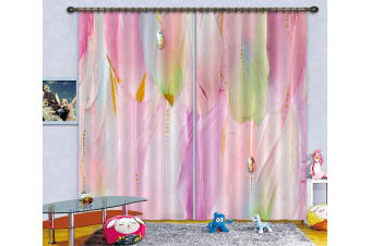 3D Pink Feather 122 Curtains Drapes