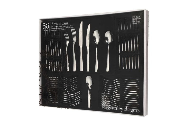 56pc Stanley Rogers Amsterdam Table Cutlery Set Stainless Steel Fork Spoon Knife