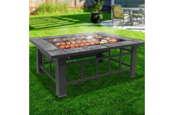 3 IN 1 Fire Pit Stove BBQ Grill Table Ice Pits Patio Fireplace