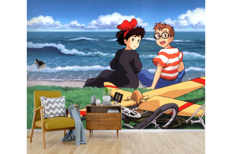 3D Kiki's Delivery Service 034 Anime Wall Murals Woven paper (need glue), XL 208cm x 146cm (WxH)(82''x58'')