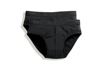 Fruit Of The Loom Mens Classic Sport Briefs (Pack Of 2) (Black) (XL)