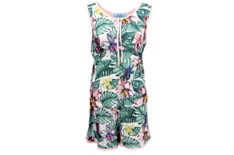 Womens 2PCS Frilled Boxer Singlet Pajamas PJ Set Sleeveless Shirt Shorts Nightie - Tropical Flower