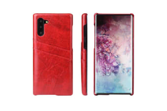 For Samsung Galaxy Note 10 Case Red Deluxe PU Leather Back Shell Wallet Cover