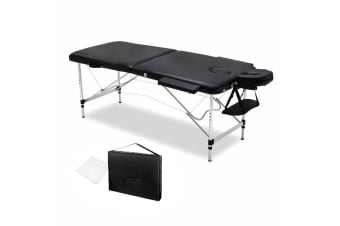 75cm Professional Aluminium Portable Massage Table (Black)