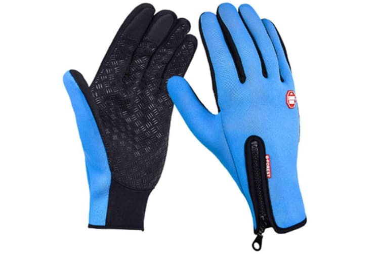 Trendy Outdoor Non-Slip Touch Screen Camping Sports Gloves Lake Blue M
