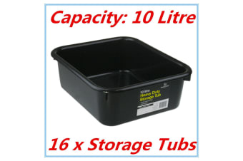 16 x Heavy Duty BLACK Plastic Storage Tubs 10L Crate Containers Boxes Tub Bin Fd