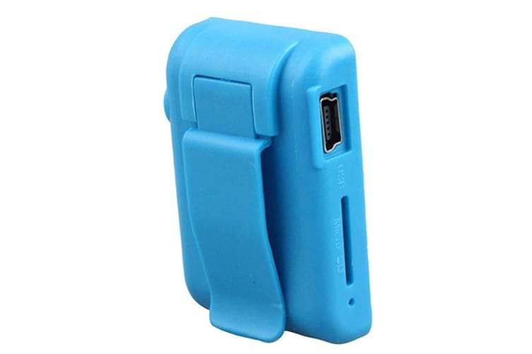 Select Mall Mini Clip Music MP3 Player Support 8GB TF Card With Earphone Portable Mini Music Media Player-Blue