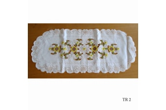 Cream Embroidered Doilies Table Runner TR2