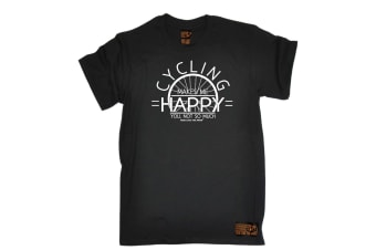 Ride Like The Wind Cycling Tee - Makes Me Happy - (XX-Large Black Mens T Shirt)