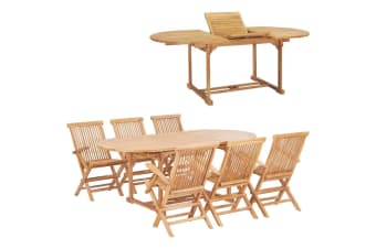 vidaXL 7 Piece Outdoor Dining Set 150-200x100x75 cm Solid Teak Wood