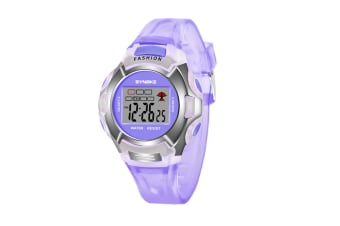 Children'S Watch Nightlight Waterproof Sports Electronic Watch Purple