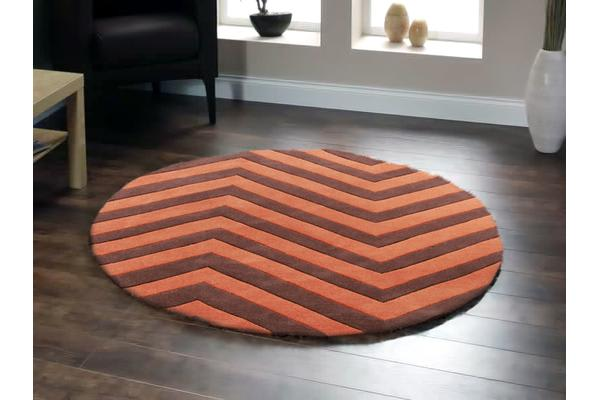 Chevron Jaffa Orange Round Rug 150x150cm