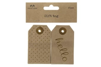 Christmas Gift Tag Set (20 Pieces) (Brown/Gold) (7.6x4.5cm)
