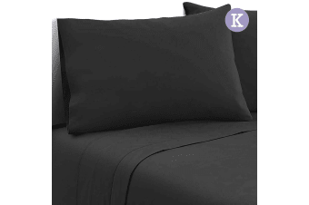 4 Piece Microfibre Sheet Set (King/Black)