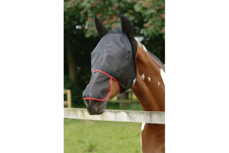 Equilibrium Field Relief Max Horse And Donkey Fly Mask With Ears (Black/Red) (Medium)