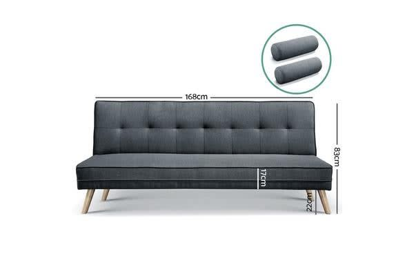Artiss 3 Seater Fabric Sofa Bed (Charcoal)