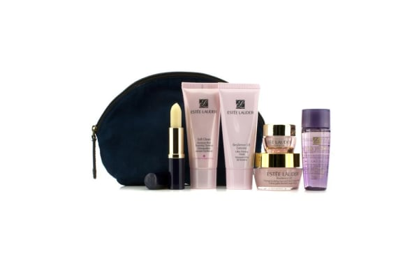 Estee Lauder Travel Set: Soft Clean 30ml + Optimizer 30ml + Resilience Mask 30ml + Neck Creme 15ml + Eye Creme 5ml + Lip Conditioner + Bag (6pcs+1bag)