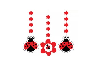 Creative Converting 7in Ladybird Hanging Cutouts (Pack Of 3) (Red/Black/White) (7in)