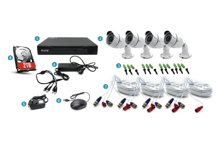 Elinz 4CH CCTV Security 4x Camera System 1080P AHD 5MP DVR Face Detection 2TB HDD