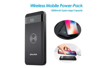 AWEI Wireless Power-Bank 10000mAh Mobile Power-Pack Portable Fast Charging Backup External Battery-Pack for Mobile Phone-black