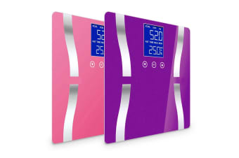 SOGA 2 x Digital Body Fat Scale Bathroom Scales Weight Gym Glass Water LCD Purple/Pink