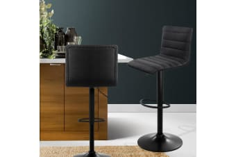 Artiss 2x Bar Stools Fabric Kitchen Cafe Swivel Bar Stool Chair Gas Lift Black