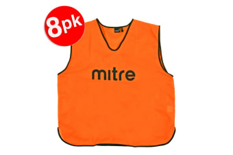 8x Mitre XXL Adults Running/Soccer/Rugby/Basketball Sport Vest Training Bibs ORG