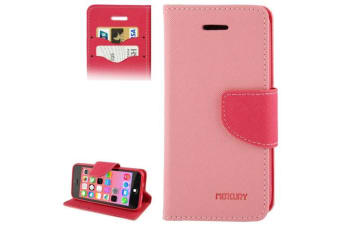 For iPhone 5C Wallet Case Modern Cross Leather High-Quality Shielding Cover Pink
