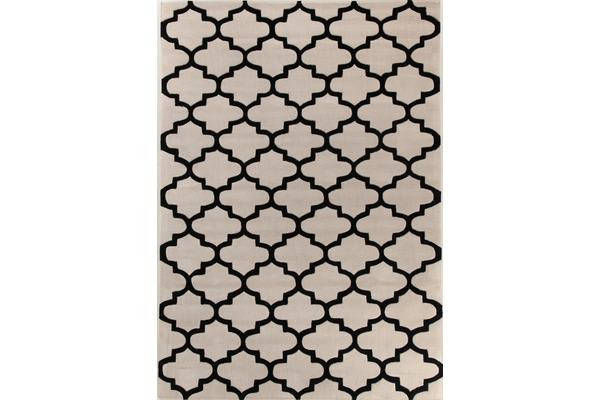Lattice Off White And Black Rug 225x155cm