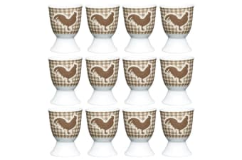 12pc KitchenCraft Hen Boiled Egg Cup Holder Stand Tableware Servingware Brown