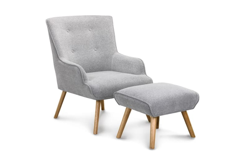 Shangri-La Milla Armchair and Ottoman (Ash Grey)