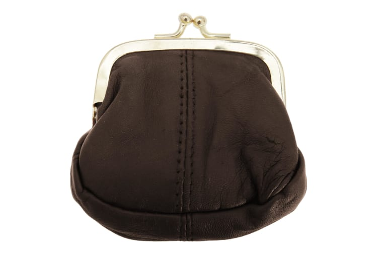 Womens/Ladies Soft Leather Coin Purse With Metal Clasp (Brown) (One Size)