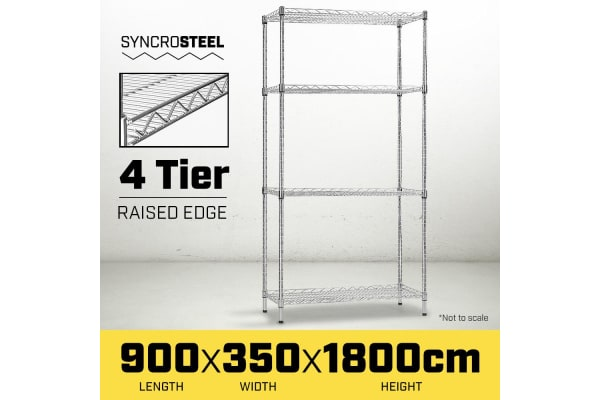 Syncrosteel Chrome Wire Shelving Storage  900 x 350mm - 1.8 m high