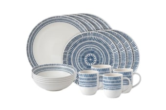 Royal Doulton Ellen DeGeneres Chevron 16pc Set Dark Blue