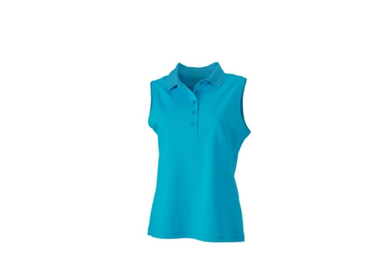 James and Nicholson Womens/Ladies Active Sleeveless Polo (Turquoise) (L)