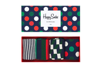 Happy Socks Holiday Big Dot Gift Box (Blue/Red/Green/White, Size 41-46)