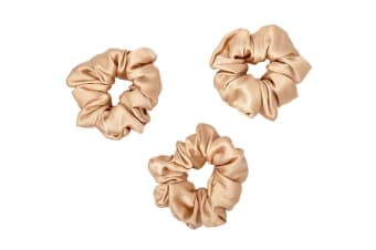 Gioia Casa Luxury Silk Scrunchie 3 Pack (Champagne)