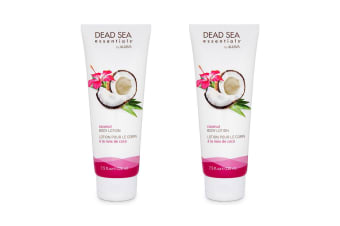2PK Ahava Dead Sea 220ml Essentials Coconut Oil Soothing/Re Hydrate Body Lotion