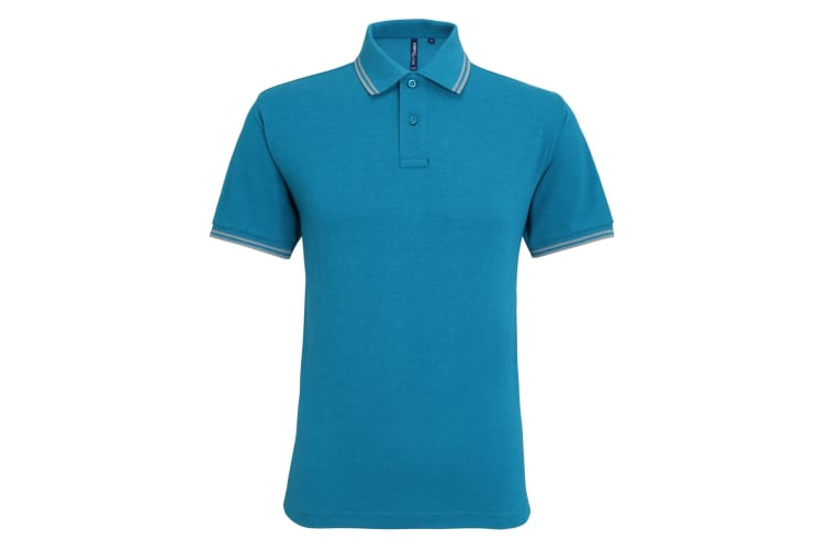 Asquith & Fox Mens Classic Fit Tipped Polo Shirt (Teal Heather/Heather Grey) (XL)