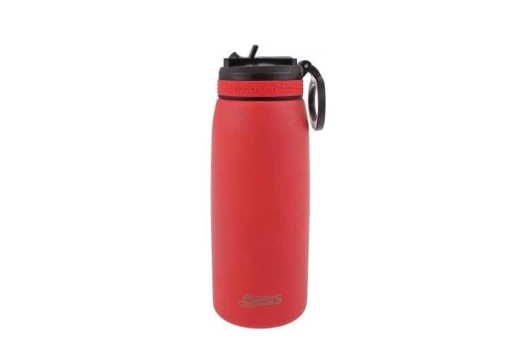 Oasis 780ml Stainless Steel Double Wall Insulated Drink Bottle w/ Straw Coral