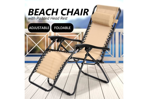 Reclining Chair Zero Gravity Foldable Recliner Chair Beach Chair - Tan
