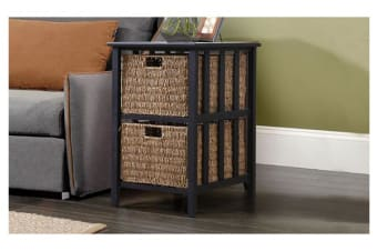 Bedside Storage Cabinet Wood Side Table with 2 Foldable Baskets Black & Brown